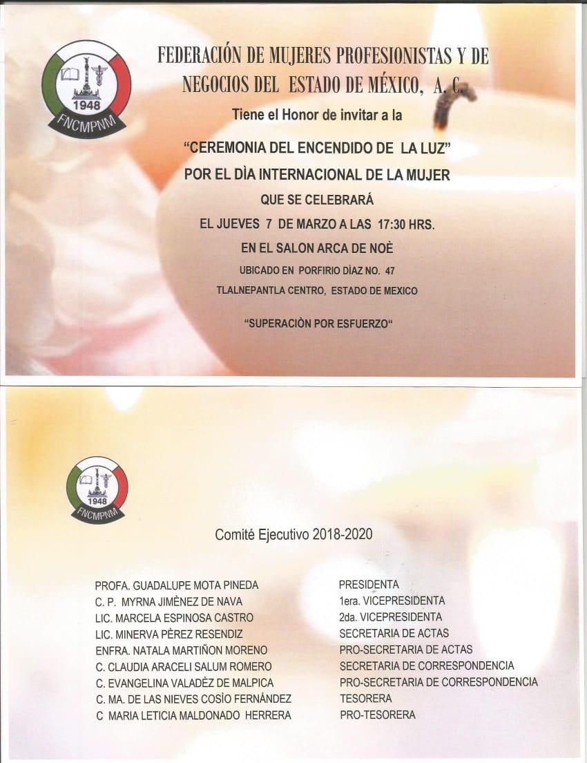Ceremonia de Velas realizada por la Federación del Estado de México